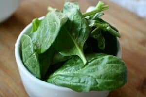 a cup of spinach