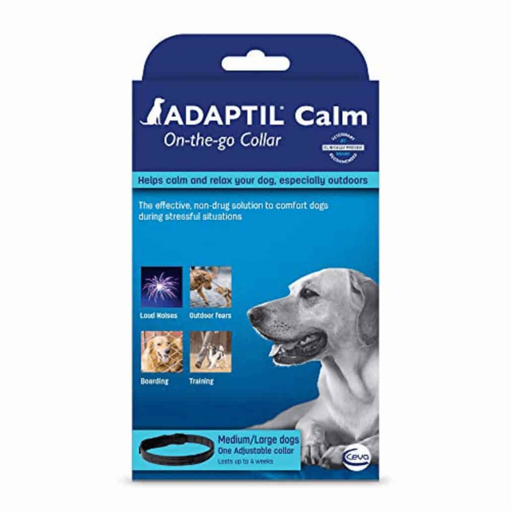 is adaptil safe for dogs blue box featuring photos of dogs.