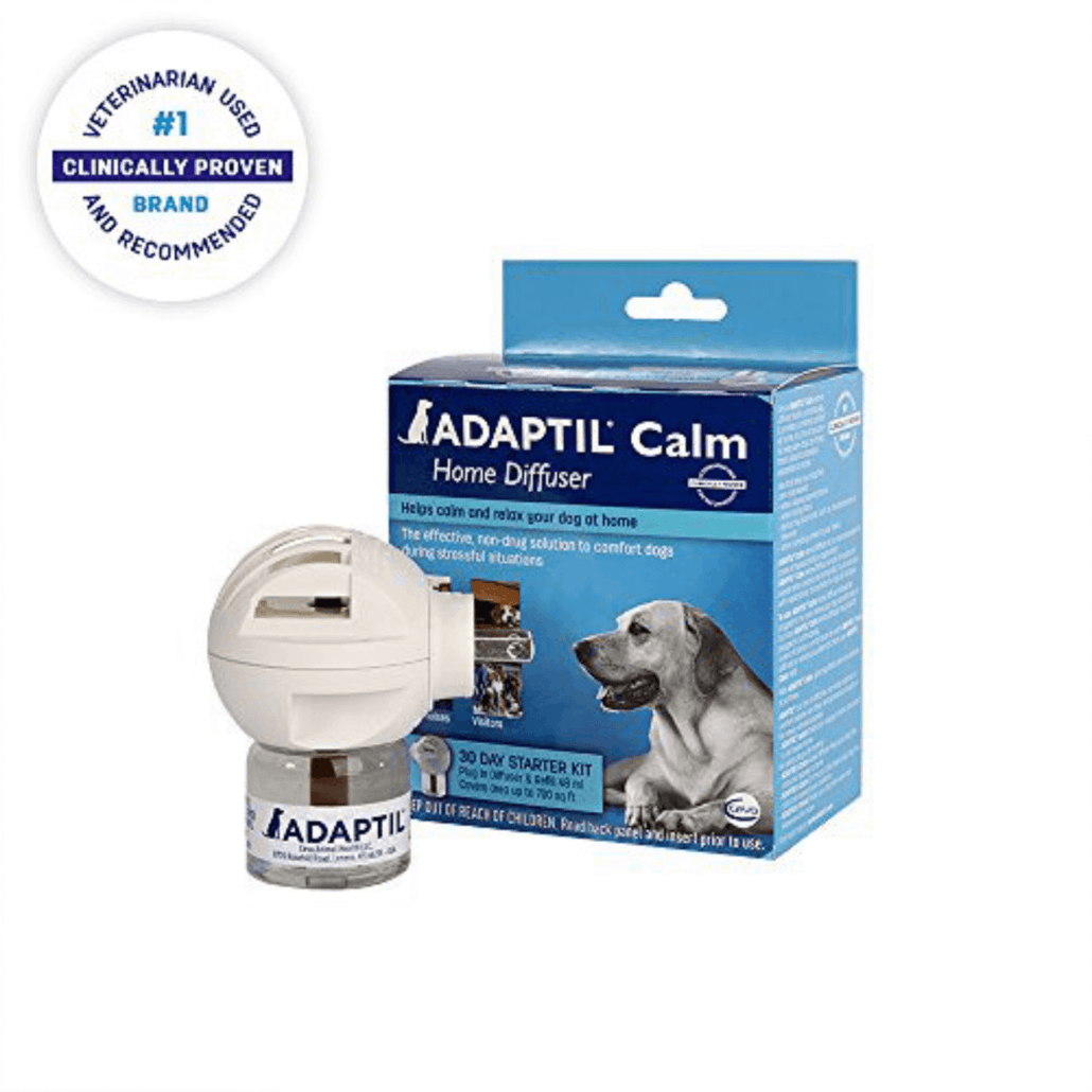 is adaptil safe for dogs - image shows  blue adaptil packaging and diffuser.
