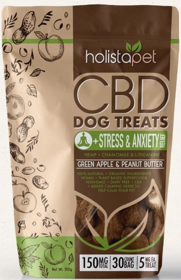 CBD treats for dogs with anxiety - Holistapet dog treats for stress and anxiety - Green apple and Peanut flavor