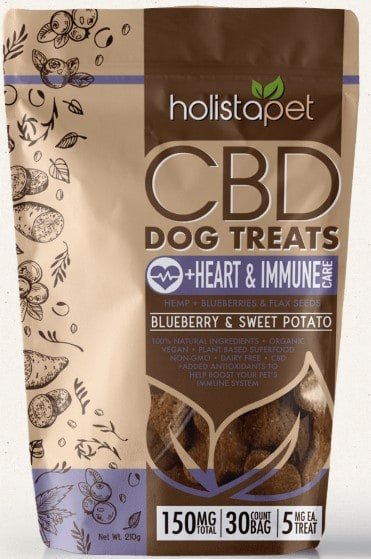 CBD treats for dogs with anxiety - Holistapet CBD dog treats - for heart and Immune - blueberry and sweet potato flavor