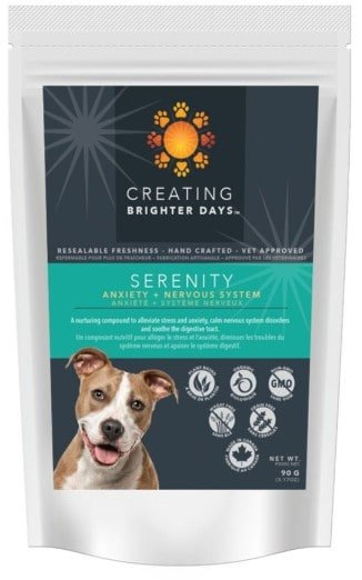 CBD treats for dogs with anxiety - an image of Serenity brand CBD dog treats made by CBD oil Canada