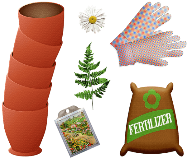 Image of 5 plant pots, a daisy, a green leaf from a fern, a pair of gardening gloves, a sachet of seeds, and a big brown sack of fertilizer.