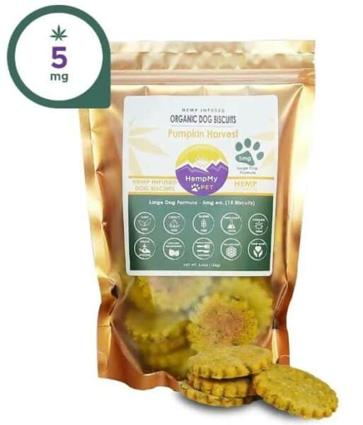 cbd treats for dogs with anxiety - HempmyPet 5mg Pumpkin Harvest CBD infused dog biscuits