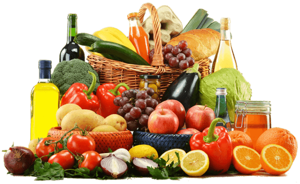a wide variety of fruits and vegetables