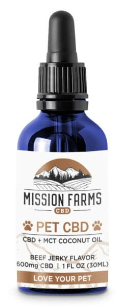 CBD with coconut for dogs - an image of CBD oil with MCT coconut oil made by Mission Farms